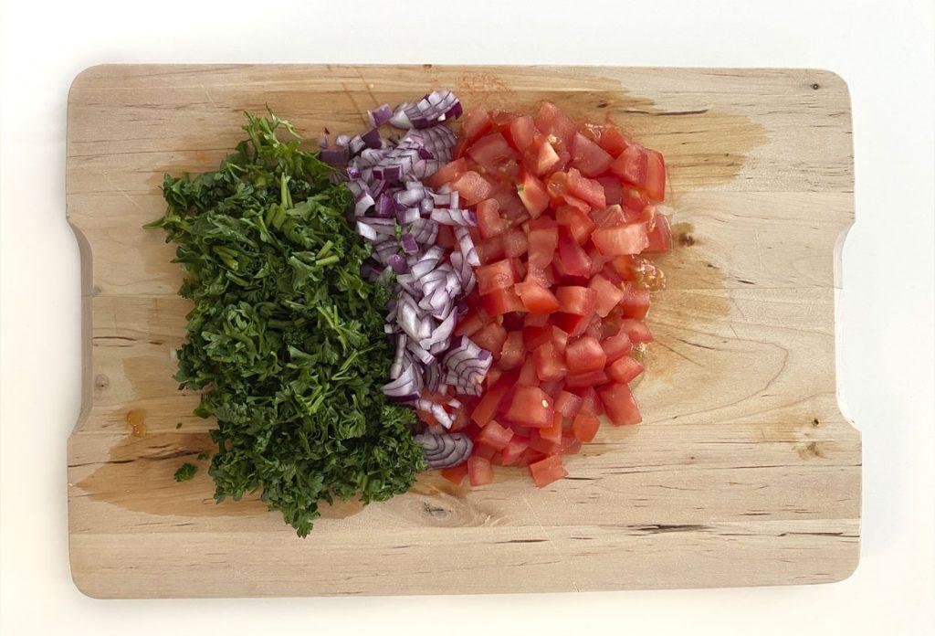 Ingredientes para Kibbeh de lentejas