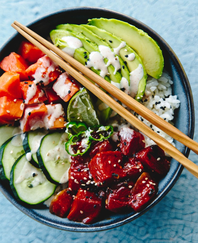 Poke bowl vegano de no atún