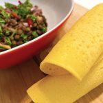 Ceviche vegano con crepes sin gluten